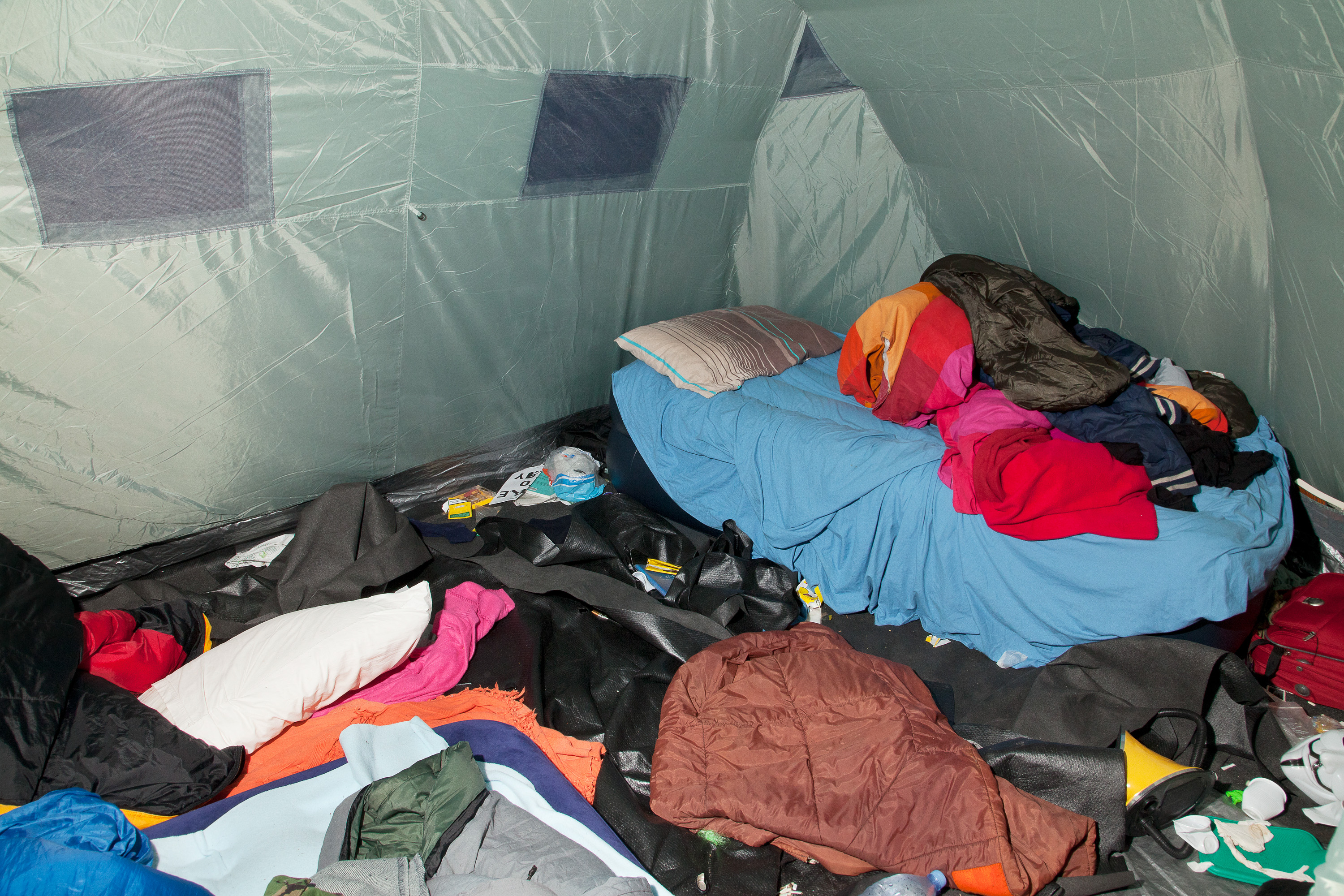 Interior of tent occupied by Mike from London, and up to 7 other protestors on any one night.