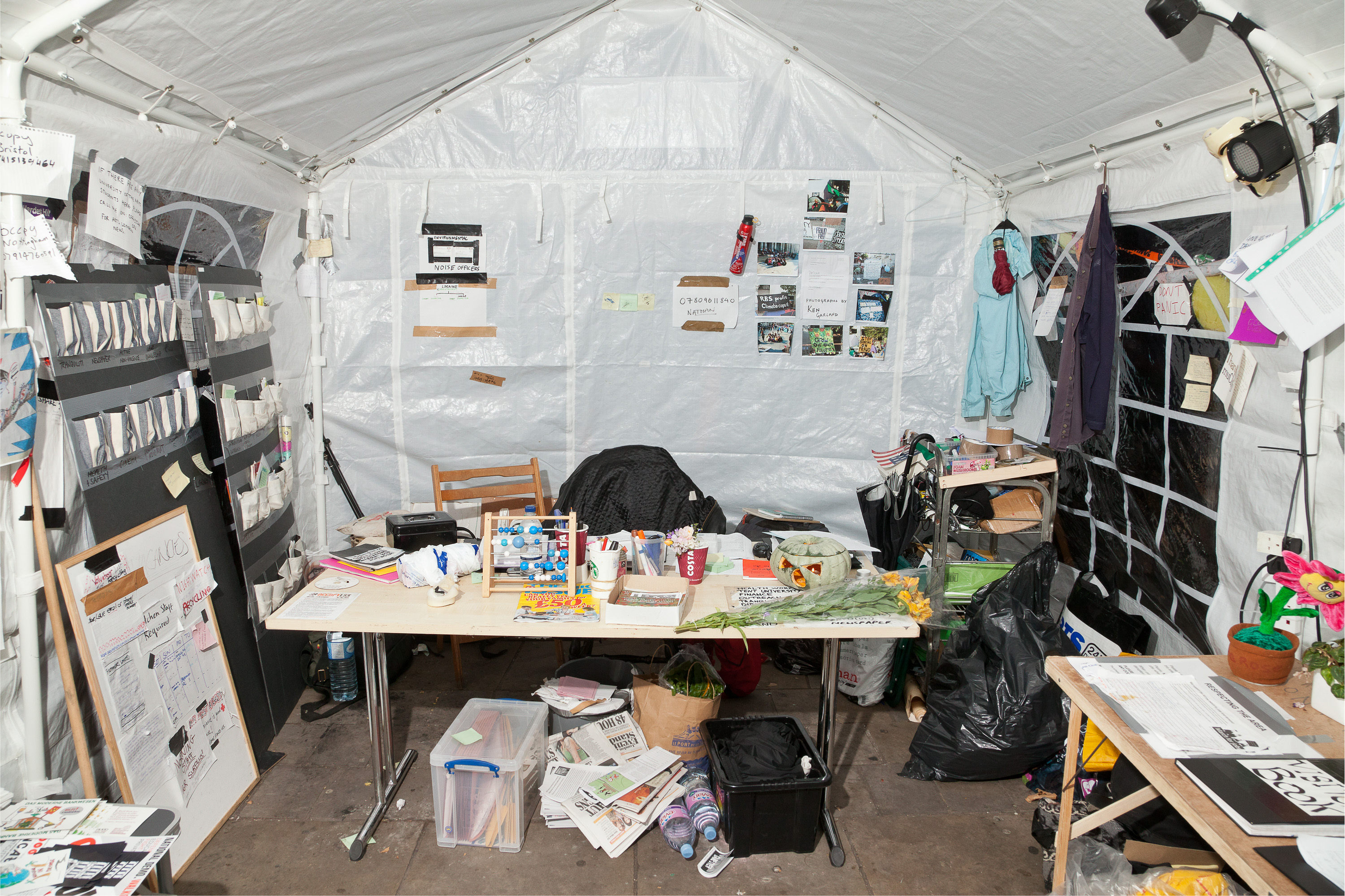 Main Information Tent, St. Paul's Camp. This space was the main hub of the St Paul's Camp - a first point of contact for media, new protestors, and anyone with an enquiry.
