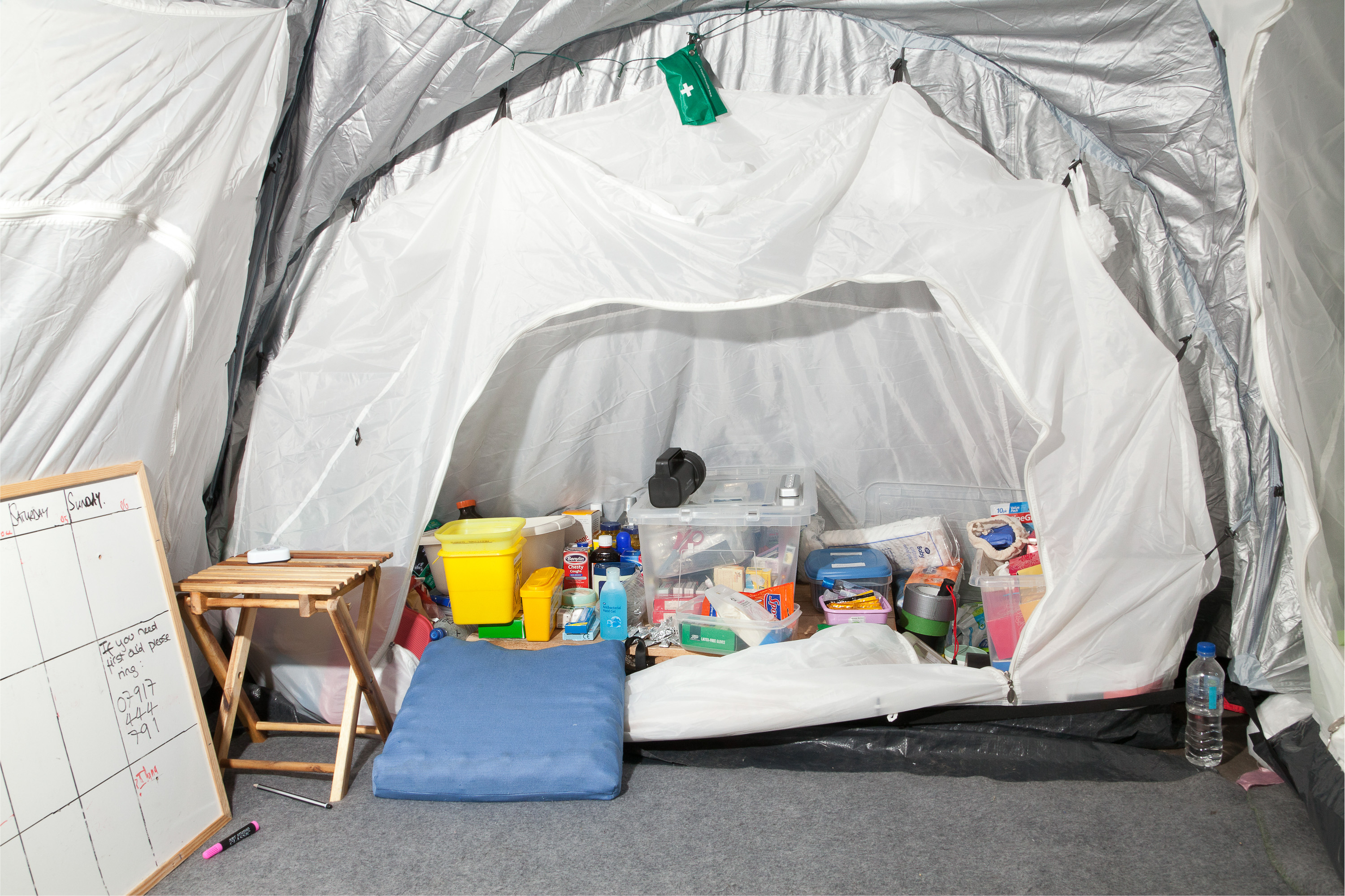 Interior of the First Aid Tent, St. Paul's Camp.